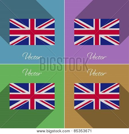 Flags United Kingdom. Set Of Colors Flat Design And Long Shadows. Vector