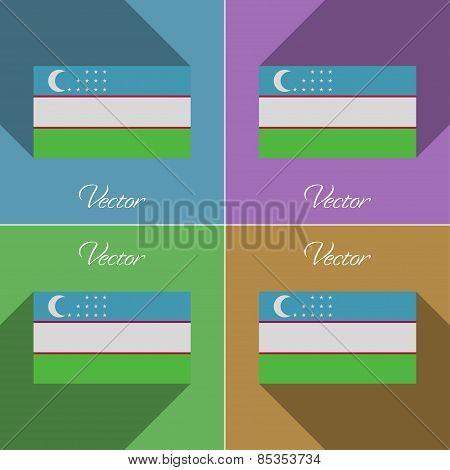 Flags Uzbekistan. Set Of Colors Flat Design And Long Shadows. Vector