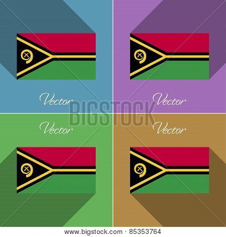 Flags Vanuatu. Set Of Colors Flat Design And Long Shadows. Vector
