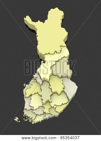 Three-dimensional map of Finland. 3d