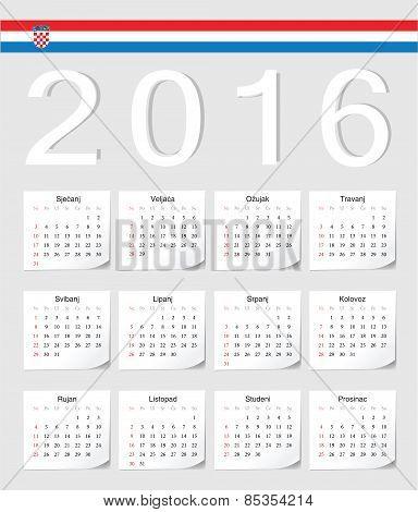 Croatian 2016 Calendar