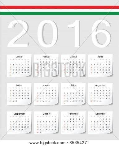 Hungarian 2016 Calendar