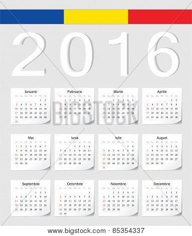 Romanian 2016 Calendar
