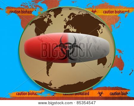 map of the world, caution biohazard