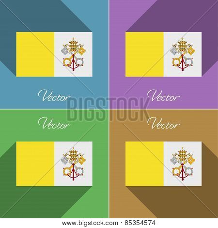 Flags Vatican Cityholy See. Set Of Colors Flat Design And Long Shadows. Vector