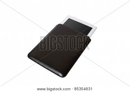 Closed Black tablet case on white background