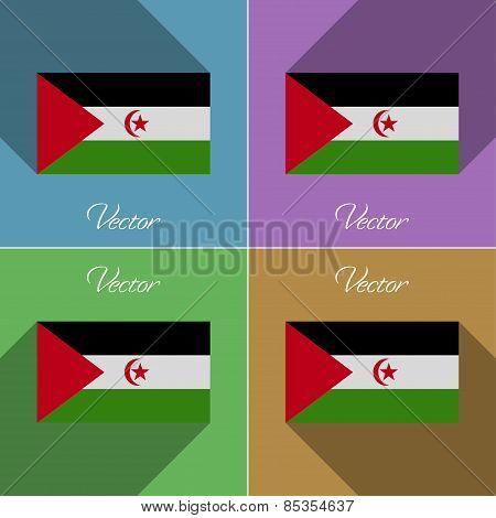 Flags Western Sahara. Set Of Colors Flat Design And Long Shadows. Vector