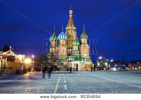 Saint Basil's Cathedral at night, Russia