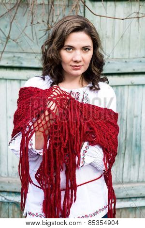 Portrait Of A Beautiful Young Ukrainian Embroidered Shirt And Knitted Red Kerchief