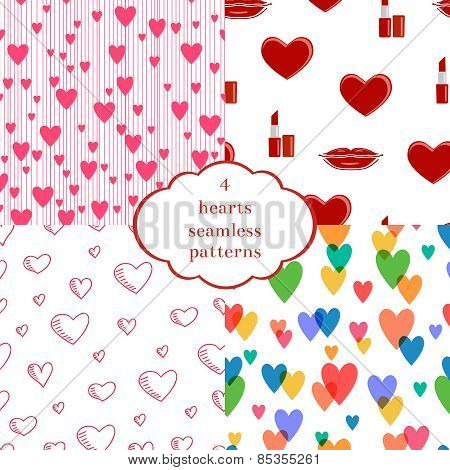 Set of 4 seamless patterns with hearts