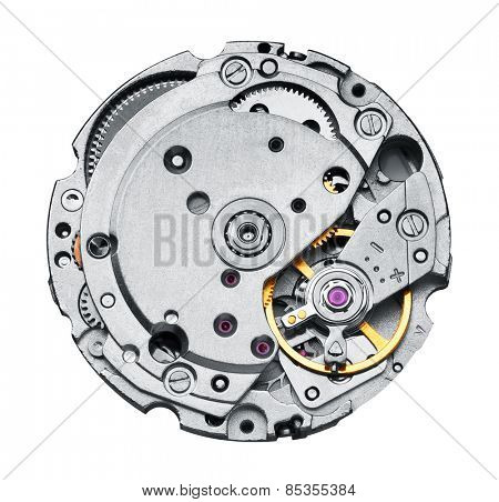 Clock mechanism with gears, close-up. Isolated on white.