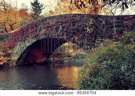 Central Park Autumn with bridge in midtown Manhattan New York City