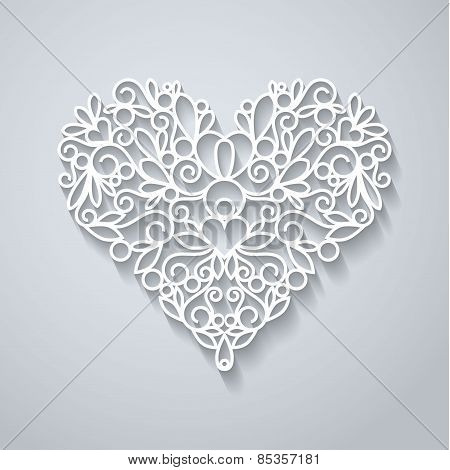 Paper heart with shadow on white