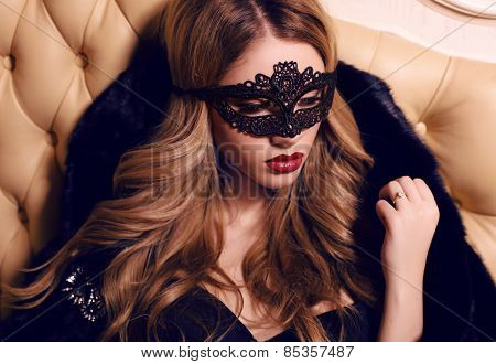 Beautiful Girl With Long Blond Hair In Lace Veil