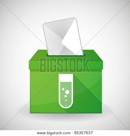 Green Ballot Box With A Chemical Test Tube