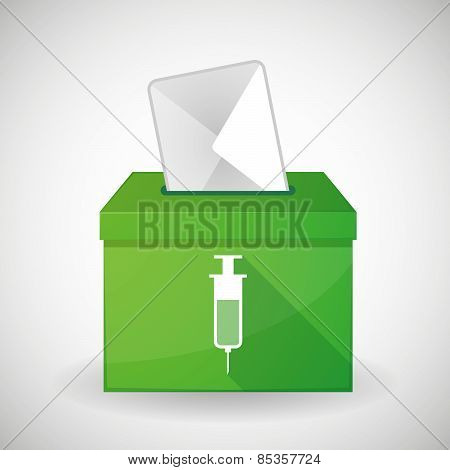Green Ballot Box With A Syringe