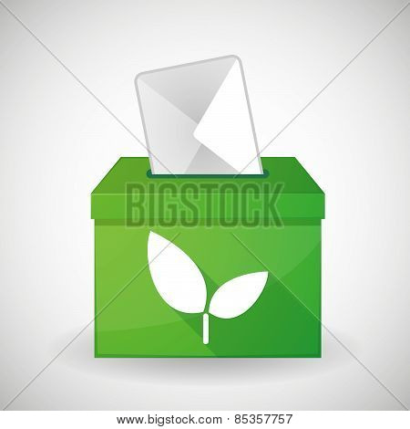 Green Ballot Box With A Plant