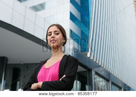 Portrait Young Business Woman Arms Crossed Smiling
