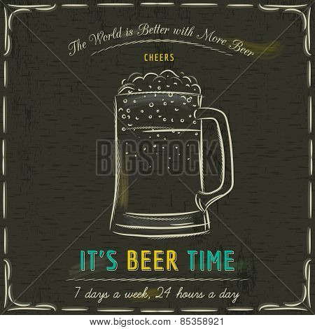 Brown Blackboard With Cold Mugs Of Beer And Text