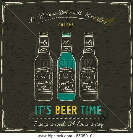Brown Blackboard With Three Bottles Of Beer And Text