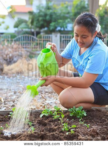 Girl Watering Vegetable Plant In Home Garden Field Family Relaxing Time