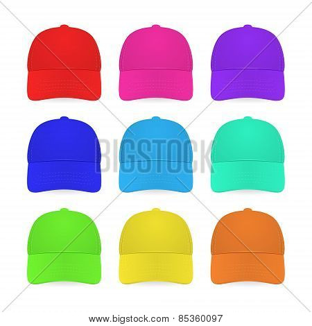 Nine Colorful Caps Isolated On White.