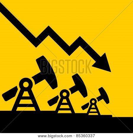 Oil Price Fall Graph. Vector