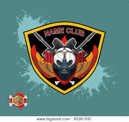 Paintball logo. shield with wings. Emblem  Mortal paintbal