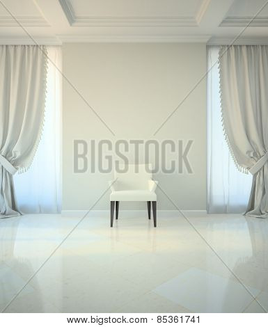 Room in classic style with chair 3D