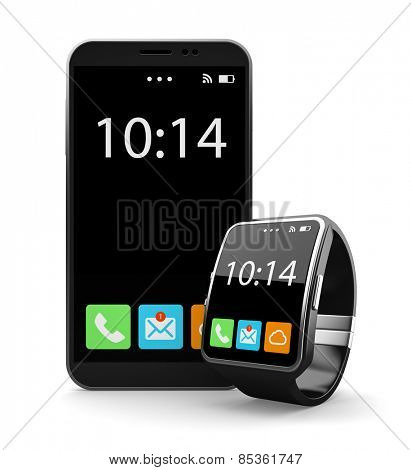 Black smartohone and smart watch on white background