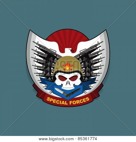 Military logo. Skull wearing a helmet with a weapon for Special warfare