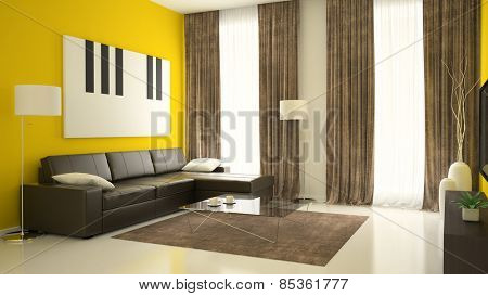 Part of interior with yellow walls 3D rendering