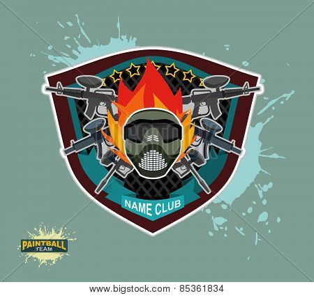 paintball emblem club. Wings of fire and paintball guns. skull mask. paintball logo Mortal mask.