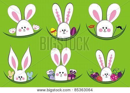 Colorful easter rabbit collection