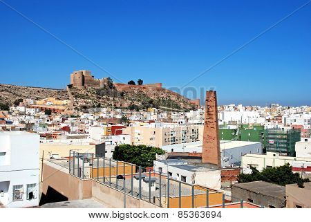 Moorish castle and rooftops, Almeria.