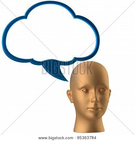 man head and drawing cloud