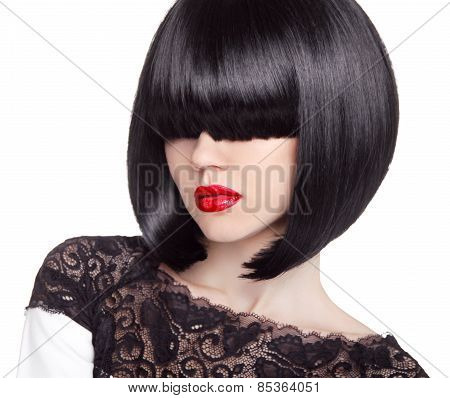 Fashion Bob Haircut. Hairstyle. Long Fringe. Short Hair Style. Brunette Girl With Red Lips Isolated