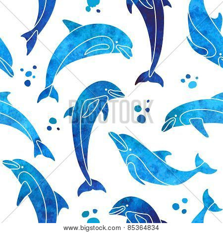 Dolphins seamless pattern