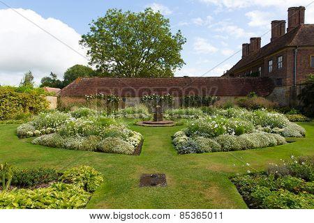 White garden Barrington Court near Ilminster Somerset England uk Tudor manor house