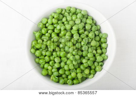 A Bowl Of Cooked Green Peas, Top View
