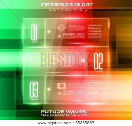 Infographic Layout with glass panels an high tech background to use for cover templates, poster wallpaper, presentation pages, cards and business related advertisement.