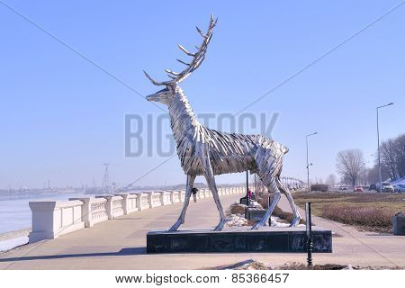 Sculpture Of Deer On The Riverside Volga