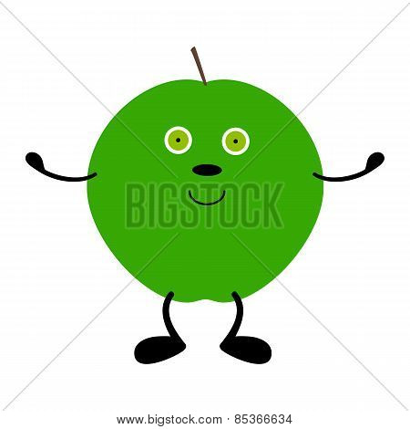 Green Apple With Hands, Legs And Eyes