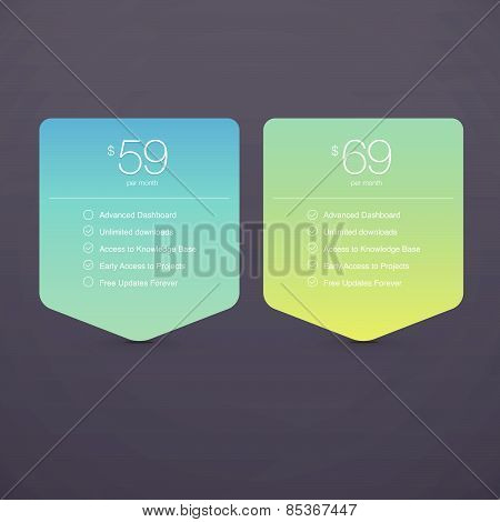 Two Vector Pricing Tables for Web, Presentations and Infographics templates. Vivid illustration on G
