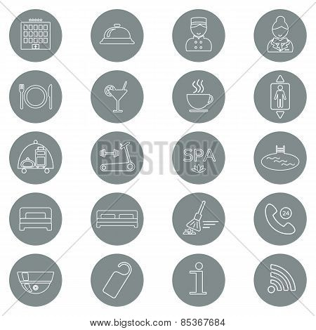 Icons Of Hotel Service. Thin Line Icon. Hotel Glyph. Button. Vector