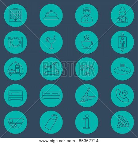 Hotel Line Icons Set.  Hotel Glyph. Button. Vector
