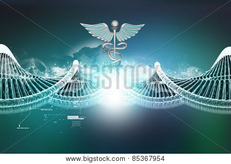 Dna and caduceus sign