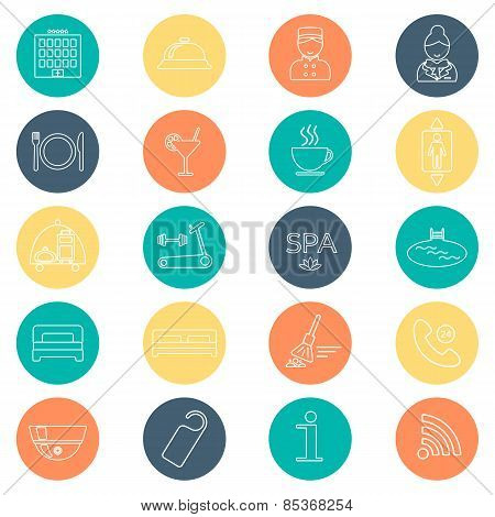 Hotel Line Icons Set.  Hotel Glyph. Buttons With Flat Color. Vector