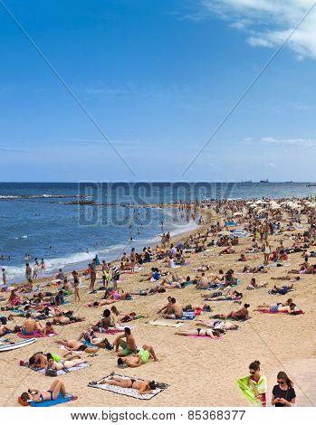 Crowded Beach Of Barceloneta - Barcelona