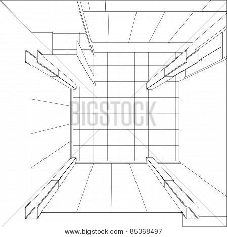 Wire-frame office room. EPS 10 vector format